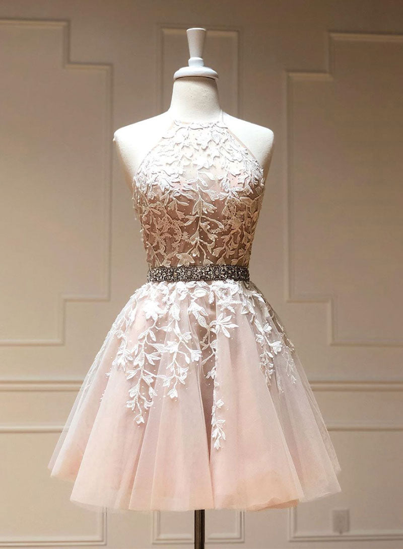 Cute tulle lace short prom dress, lace homecoming dress