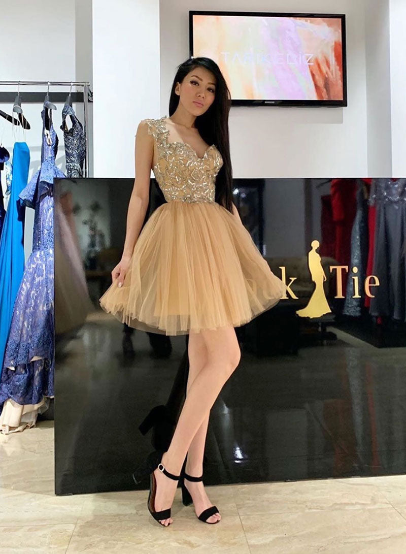 Gold sweetheart neck tulle short prom dress, homecoming dress