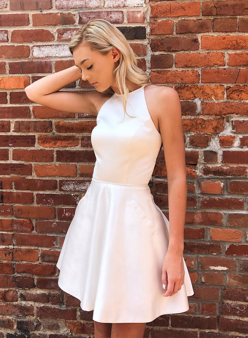 Cute satin round neck short prom dress, homecoming dress