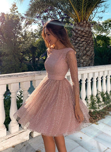 Pink tulle sequins short prom dress, homecoming dress