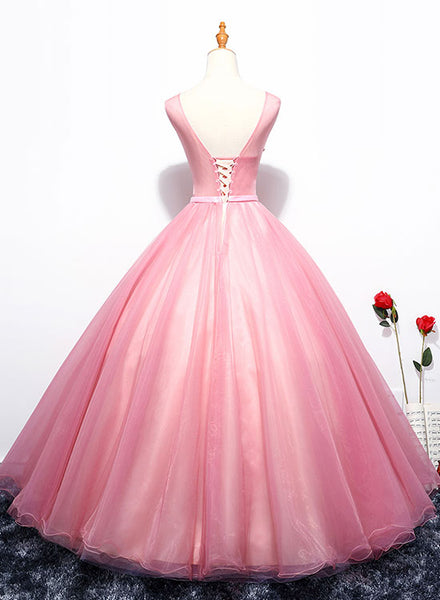 Pink round neck lace tulle long prom dress, evening dress