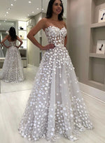 White sweetheart neck tulle long prom dress, evening dress