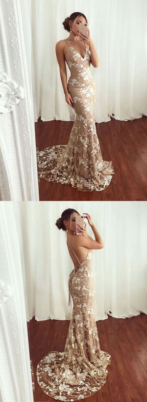 Mermaid v neck lace long prom dress, evening dress