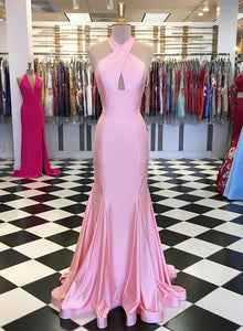Pink mermaid satin long prom dress, evening dress