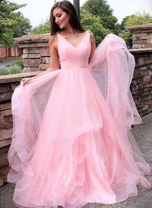 Pink v neck tulle long prom dress, evening dress