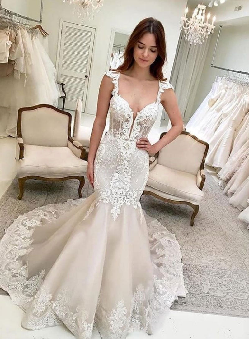 Mermaid lace tulle long prom dress, evening dress