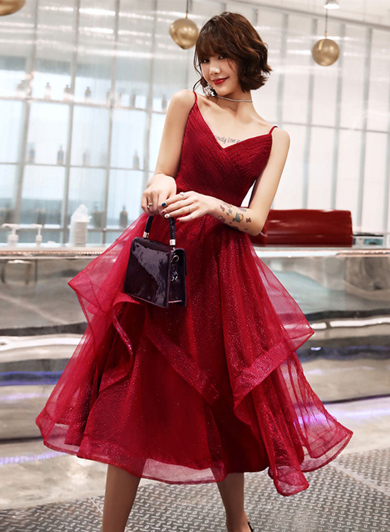Burgundy v neck tulle prom dress, evening dress