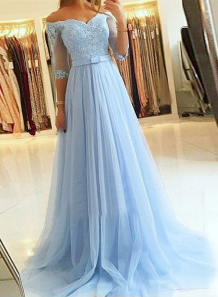 Gray tulle lace long prom dress, lace evening dress, formal dress
