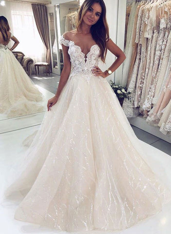 Light champagne lace long prom dress, evening dress