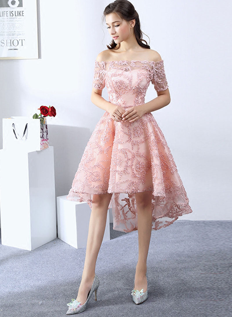 Pink high low prom dress, short evening dress, homecoming dress