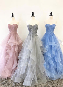 Sweetheart neck tulle lace long prom dress, lace evening dress