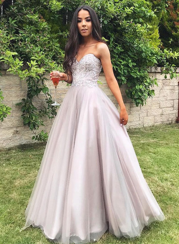 Stylish sweetheart tulle long prom dress, evening dress