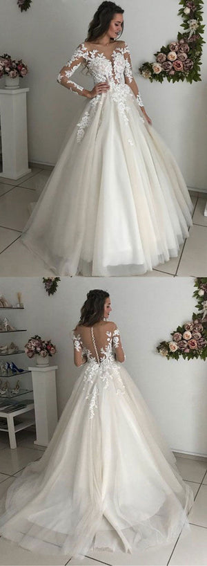 Ivory lace tulle long prom dress, long sleeve evening dress