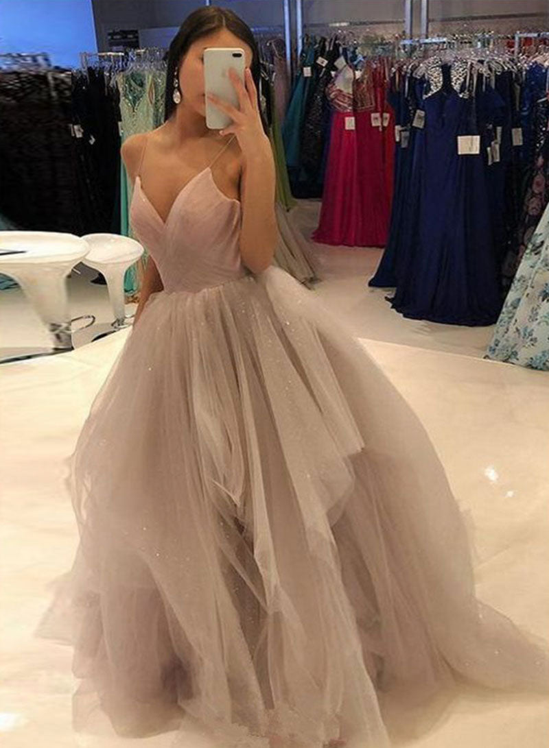 Stylish v neck tulle long prom gown, evening dress