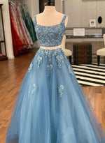 Blue two pieces appliqué long prom dress, evening dress