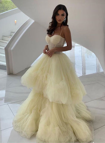 Unique yellow tulle long prom dress, yellow evening dress