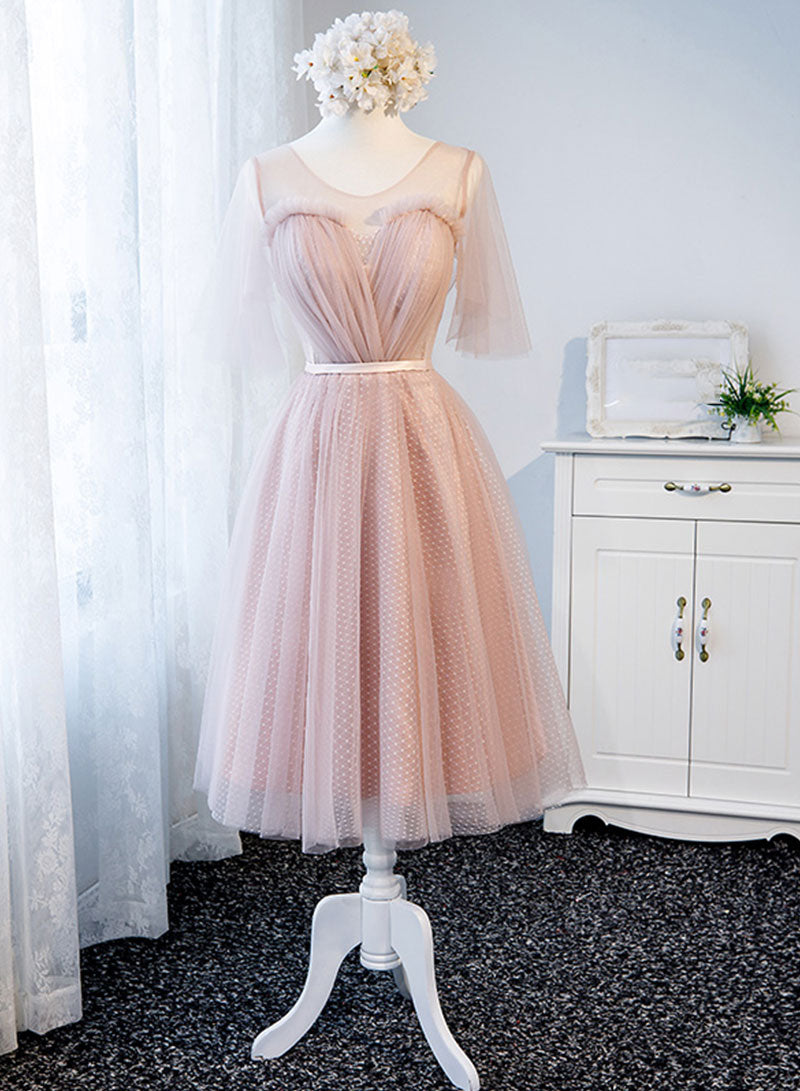 Pink tulle short prom dress, bridesmaid dress