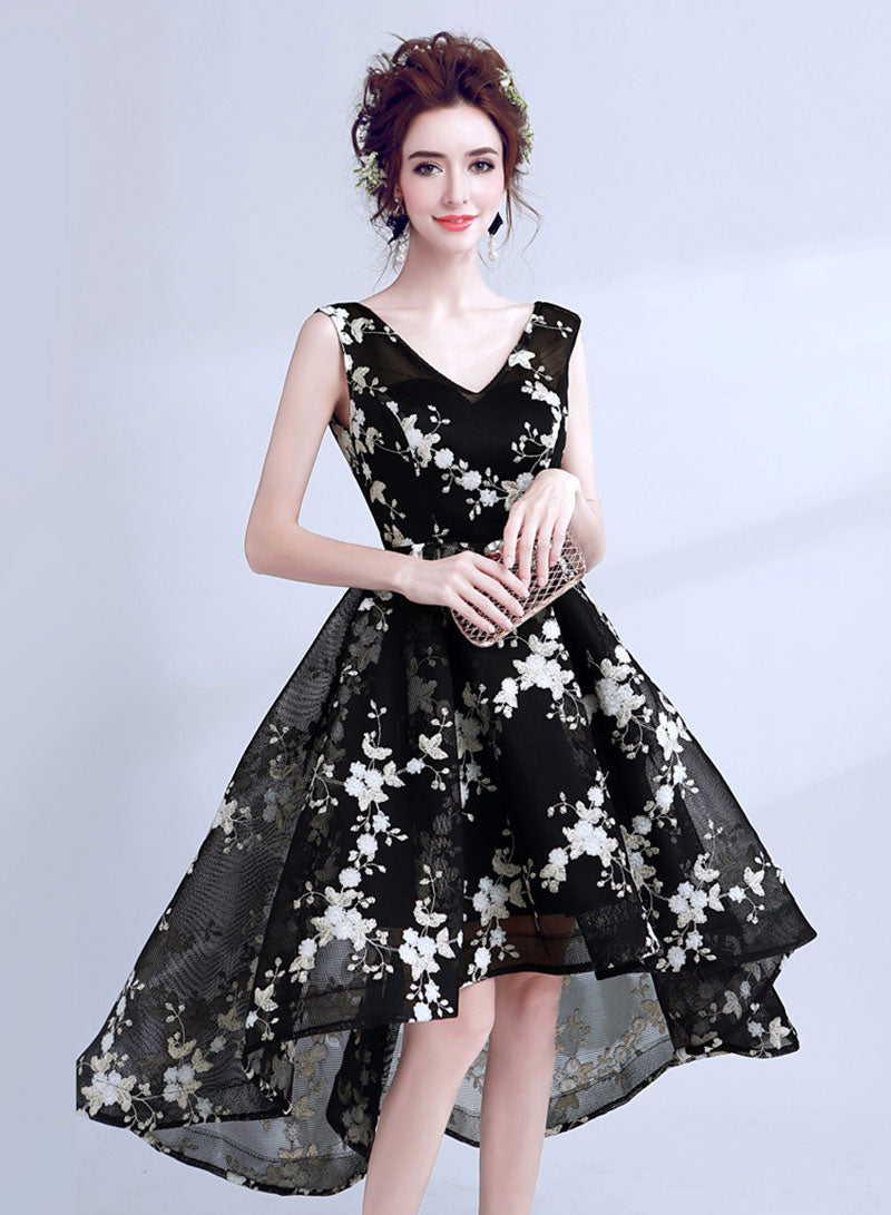 Cute black v neck short prom dress, homecoming dress