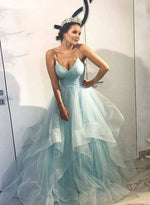Blue v neck tulle long prom gown, blue evening dress