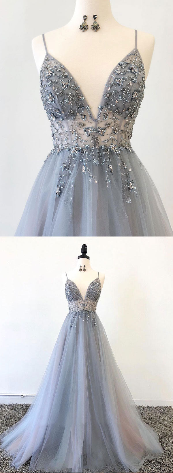 Gray v neck tulle beads long prom dress, evening dress