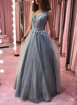 Silver v neck tulle lace long prom dress, evening dress