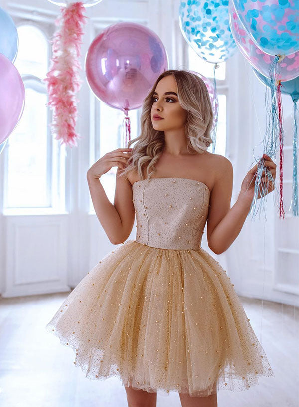 Cute champagne tulle sequins long prom dress, cocktail dress