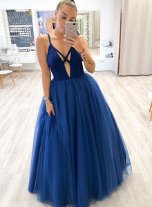 Blue v neck tulle long prom dress, blue formal dress
