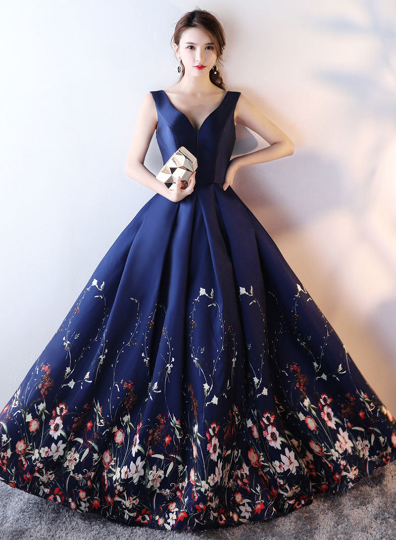 Dark blue v neck satin long prom dress, evening dress