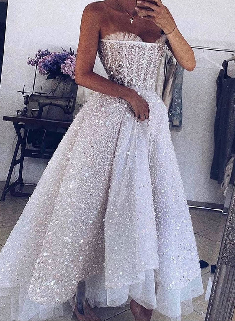 White sequins short prom dress, homecoming dress