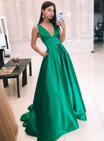 Green v neck satin long prom dress, simple evening dress
