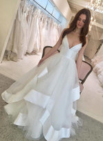 White v neck tulle long prom dress, wedding dress