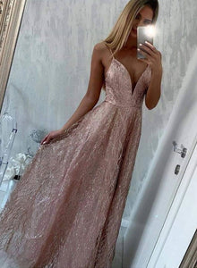 Pink v neck sequins long prom dress, pink evening dress