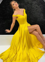 Simple yellow v neck long prom dress, evening dress