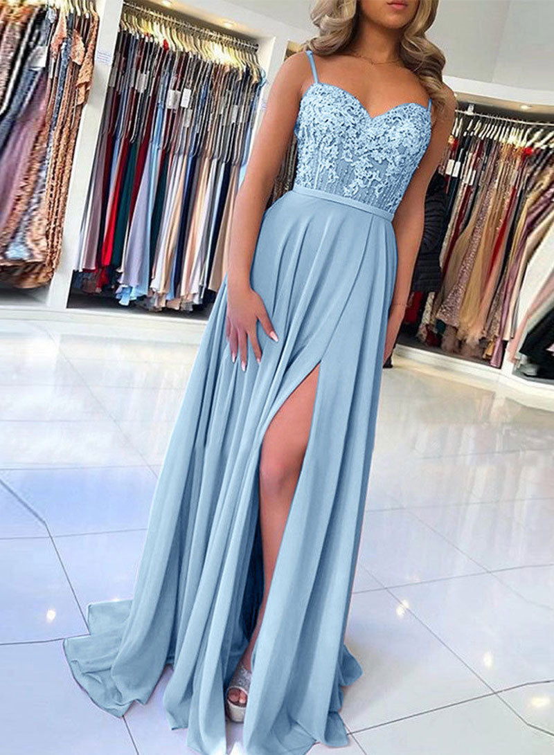 Blue lace A line long prom dress, evening dress
