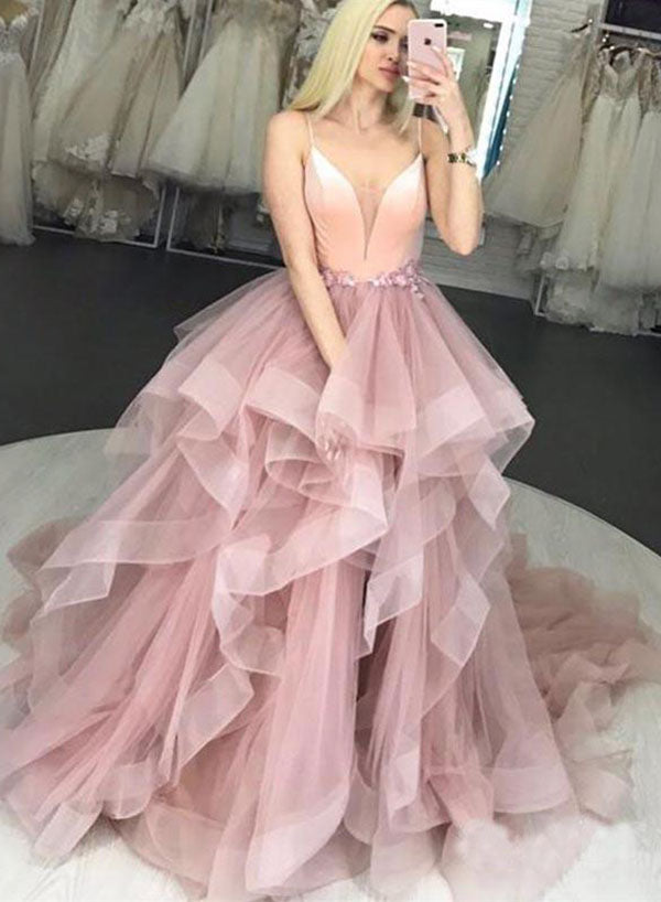 Pink v neck tulle long prom dress, sweet 16 dress