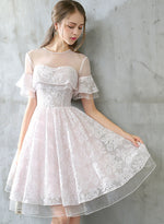Cute pink lace short prom dress, homecoming dress