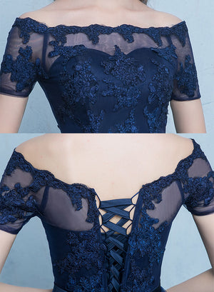 Cute blue lace short prom dress, high low evening dress