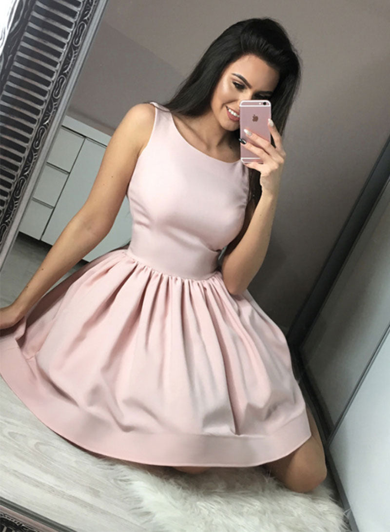 Cute pink round neck satin short prom dress, homecoming dress
