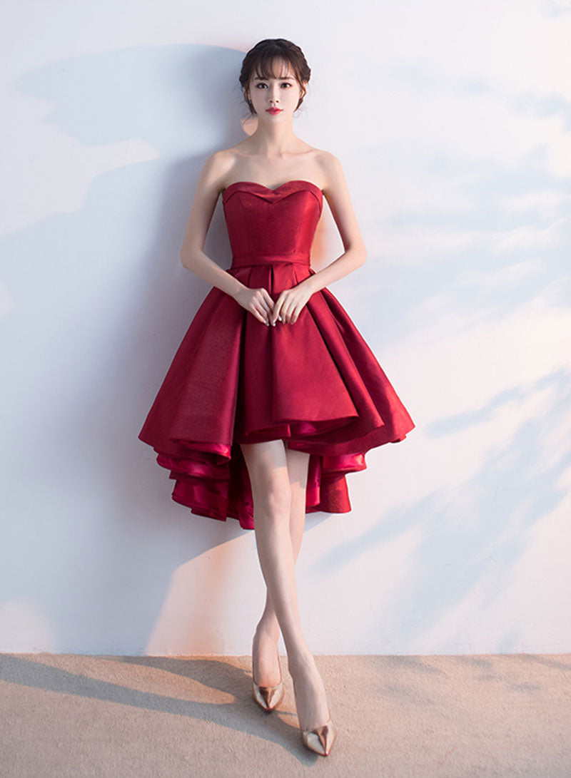 Cute burgundy sweetheart neck short prom dress, homecoming dress