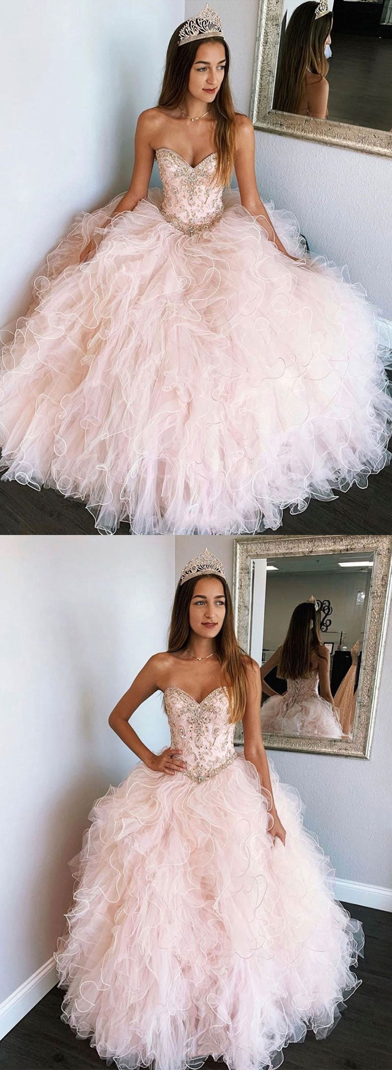 Pink tulle beads long prom gown, sweet 16 dress