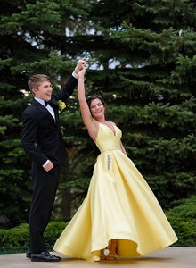 Yellow v neck satin long prom dress, simple evening dress