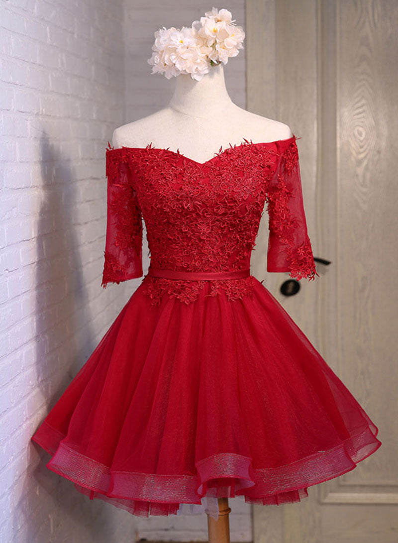 Cute lace tulle short prom dress, homecoming dress