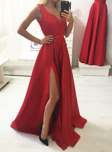 Simple red v neck satin long prom dress, red evening dress
