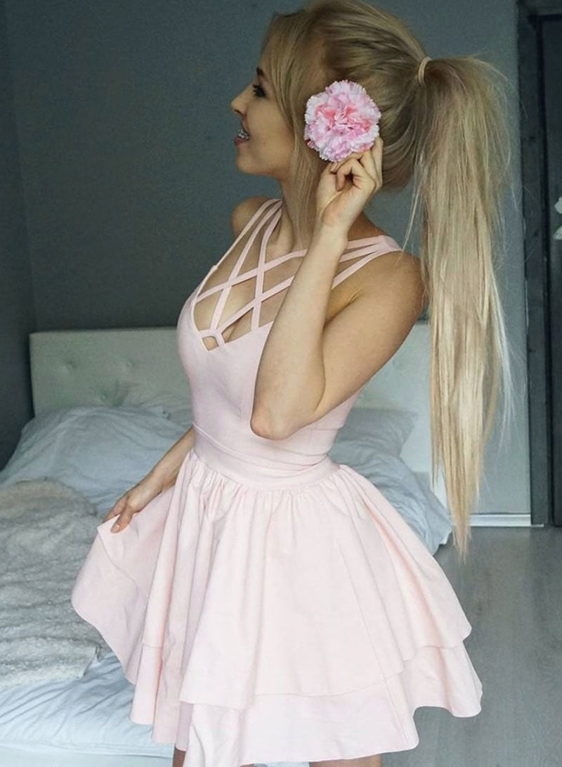 Pink short prom dress, evening dress, homecoming dress