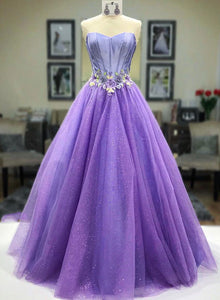 Purple sweetheart neck tulle long prom dress, evening dress