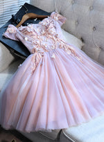 Pink tulle sequins short prom dress, pink evening dress