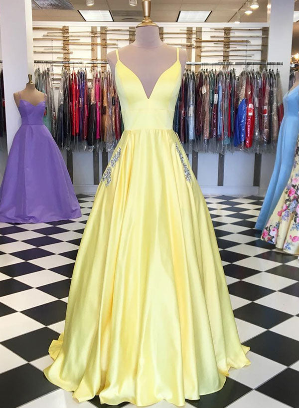 Stylish yellow v neck long prom dress, evening dress