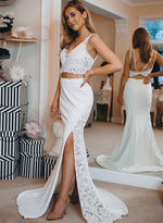 White lace two pieces long prom dress, mermaid evening dress