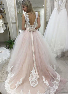 Light pink tulle lace long prom dress, lace evening dress