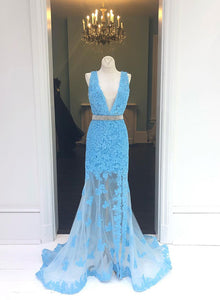 Blue v neck lace long prom dress, mermaid evening dress